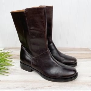 J. Crew Brown Leather Mid-calf Boots 7 7.5